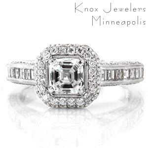 Passion is a stunning design featuring linear steps of an asscher cut diamond. The halo of micro pavé is a striking variation to the step-cut center stone. The channel set carré diamonds adds a dramatic contrast to the adjacent brilliant cut stones. The inside gallery is detailed with filigree.