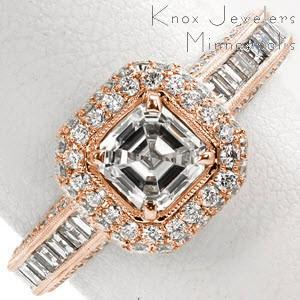 Tulsa rose gold engagement ring with micro pave halo, channel set step-cuts and asscher cut center stone.