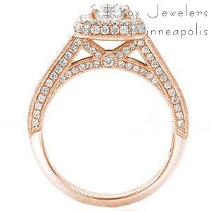 Oakland micro pave engagement ring with an asscher cut center stone in a rose gold setting.