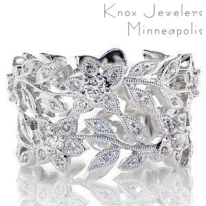 Nature inspired wide band with small round brilliant diamonds in Cleveland.