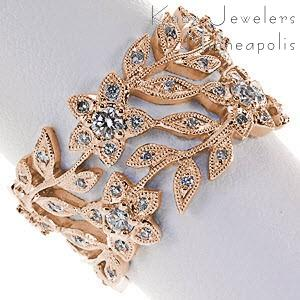 Rose gold wedding ring in Massachusetts with floral designs and micro pave diamonds.