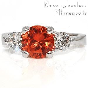 Stunning orange sapphire engagement ring