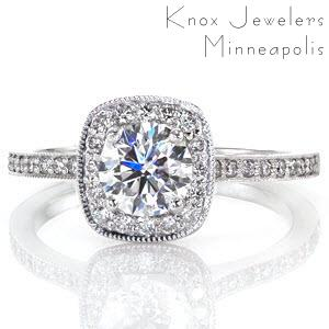 Halo engagement ring in Rochester with diamond halo and round brilliant center.