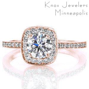 Halo engagement ring in Memphis round center stone and diamond band.