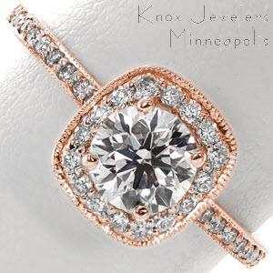Rose gold halo engagement ring in Denver with round center stone and diamond band.