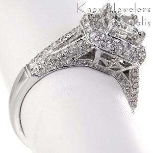 Halo engagement ring in Buffalo with rows of micro pave diamonds and princess cut center stone.