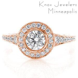 Rose gold engagement ring in Quebec City with diamond halo and round center stone.