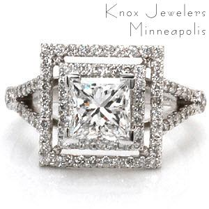 This geometric ring makes a grand statement with its luxurious double, square halos and split shank band. Both halos and the band are accented with micro pavé. The 1.00 carat princess cut center diamond is set in chevron prongs to protect the corners. This ring will dazzle with a prism of colors in any light!