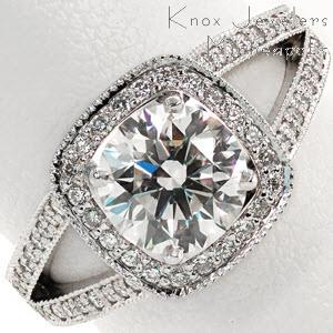Halo engagement ring in Anaheim with a split-shank diamond band and round brilliant center stone.