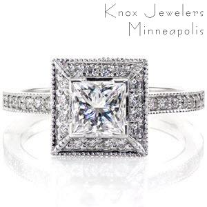 The 0.75 carat princess cut diamond is harmonious to the square shaped halo that surrounds it. The defined lines of this halo accentuates the size of the center stone it secures. micro pavé diamonds adorn this ring from the top and side of the halo as well as the length of the band.