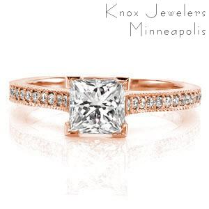 Rose gold engagement ring in El Paso with micro pave diamonds and princess cut center stone.