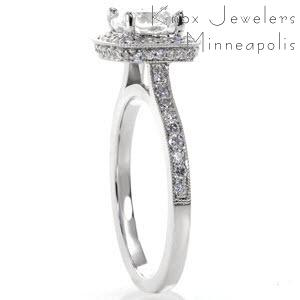 This cushion cut engagement ring design features a very sexy double micro pave halo.