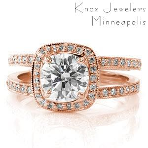 Fargo engagement ring with cushion halo on a double band setting.