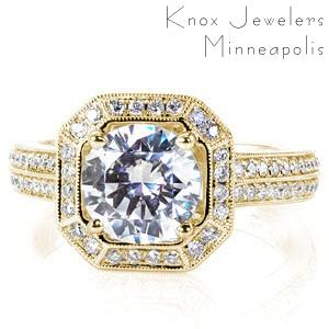 McAllen engagement ring with diamond halo and double row diamond band in yellow gold.