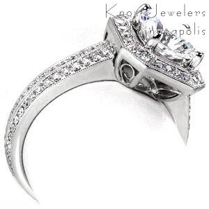 Dallas antique engagement ring with filigree, diamond band, diamond halo and milgrain.