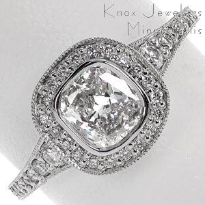 Bezel set Cushion cut with diamond halo engagement ring
