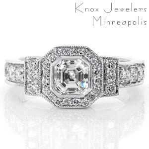 Asscher Art Deco is true to its era with the embellishment of micro pavé diamonds. The bold shapes of the octagon halo and rectangular side rails emphasize its historical style. A smooth bezel borders the 0.75 carat asscher cut to showcase the mirrored staircase facets of this linear design.