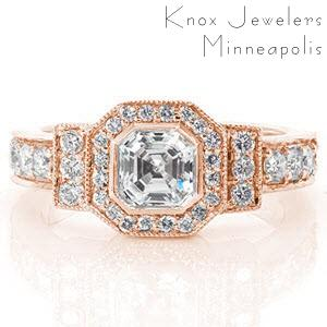 Denver rose gold halo ring with asscher cut center stone and micro pave diamonds.