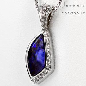 Opal and Diamond Pendant - Unique Gifts