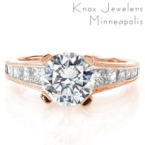 Anaheim rose gold engagement ring with princess cut side stones and round brilliant center stone.