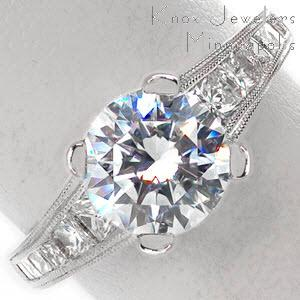 Ottawa engagement ring with channel set princess cuts, rows of double milgrain and round brilliant center stone.