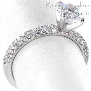 Micro pave engagement ring in San Jose with round brilliant center stone in a white gold setting.