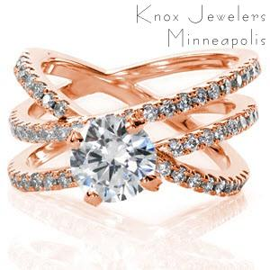 Denver rose gold engagement ring with interwoven micro pave bands and round center stone.