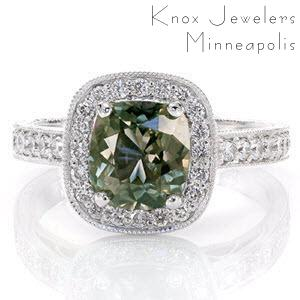"""""""Cenote""""  Cushion Cut Green Sapphire in a Halo Style, Hand Engraved, with Filigree Engagement Ring"""