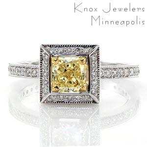 Framed in a perfect square, four 14k yellow gold prongs showcase a 0.75 carat fancy yellow radiant cut center diamond on Design 2041. Magnificent lines of milgrain outline round bright-cut and bead-set micro pavé diamonds that join the delicate 14k white gold band to the halo.