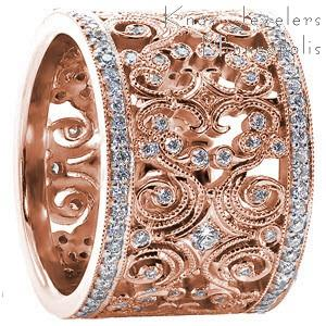 Denver rose gold wedding band with intricate filigree curls between two rows of diamond bands.