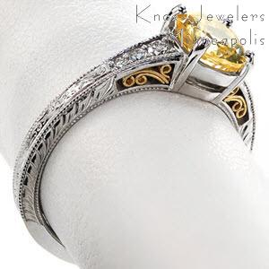 Filigree sapphire engagement rings in Honolulu. This gorgeous antique engagement ring style features hand wrought yellow gold filigree to compliment the yellow sapphire center stone. The band is further detailed with diamonds and hand engraved patterns.