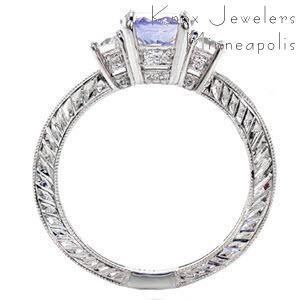 Three Stone Engagement Ring with purple sapphire