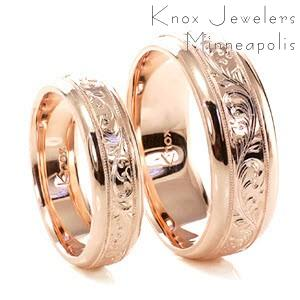 Hand Engraved Rose Gold wedding bands in Honolulu with scroll pattern.