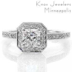 Providence halo engagement ring with radiant center stone and diamond band.