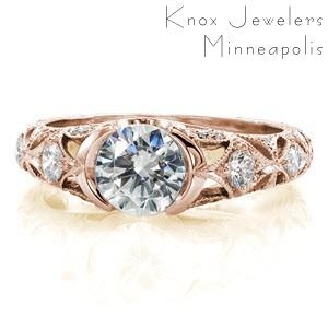 Providence engagement ring with half bezel setting and ornately decorated band.
