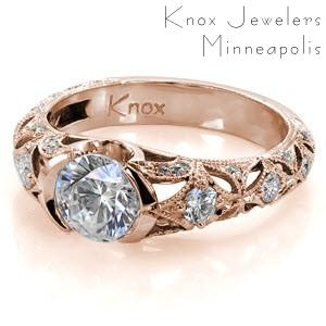 Tulsa rose gold engagement ring with pierced patterns, milgrain and half bezel center stone.