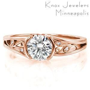 Portland rose gold engagement ring handmade filigree and micro pave diamonds.