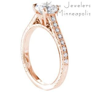 Honolulu rose gold engagement ring with round center stone, filigree and diamonds.