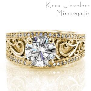 Wide diamond wedding ring in Edmonton with filigree and micro pave bands.