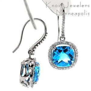 Topaz Diamond Halo Earrings - Earrings