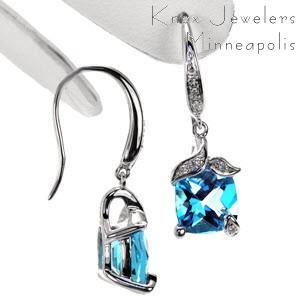Topaz Diamond Earrings - Earrings
