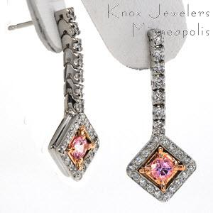 Pink Sapphire Dangles - Earrings