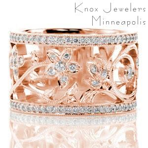 Henderson wedding ring in rose gold with diamonds and nature inspired patterns.