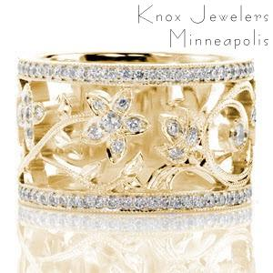 Wide diamond wedding rings in Rochester with nature inspired flower patterns.