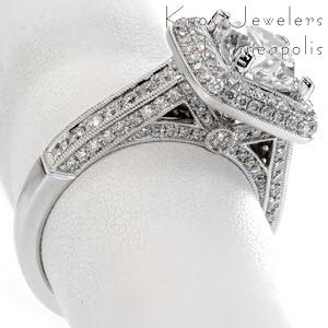 Micro pave engagement ring in Montreal with rows of diamonds in a white gold setting.