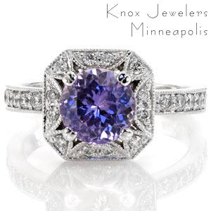 Lotus Halo Engagement Ring with Purple Sapphire