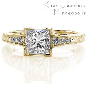 Fort Worth antique engagement ring with engraving, filigree and princess cut center stone.
