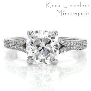 Custom engagement ring in Oakland with a bead set diamond split band and a cushion cut center diamond.