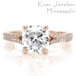 Custom rose gold engagement ring in San Diego with a bead set diamond split band and a cushion cut center diamond.