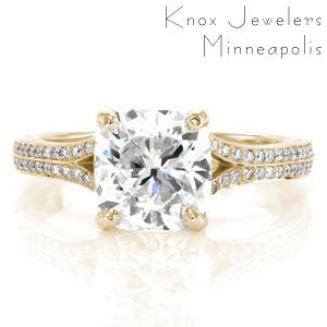Custom engagement ring in San Francisco with a bead set diamond split band and a cushion cut center diamond.